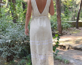 SALE Ivory Wedding Dress, Lace Wedding Gown, Long 70s Gown, Champagne Gown, Open Back Gown, Βοhο Wedding Dress, Handmade, Retro Wedding Gown