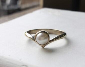 White Gold Pearl Offset V Ring - White Gold - Chevron Ring, Minimalist, Modern - June Birthday, US Size 6 to 7 Ready to Ship