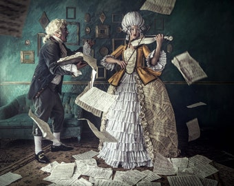 Musical Art Print Canvas Gallery Wrap 16x20 Conceptual Photography Print Sheet Music Artwork Wall Baroque Classical Music Bach's Return