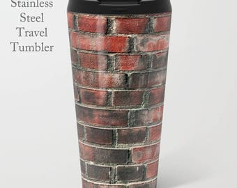 Brick Travel Tumbler-Brick Wall Coffee Mug-Stainless Steel Mug-Insulated Metal Mug-15 oz Tumbler-Coffee Tumbler-Insulated Travel Mug