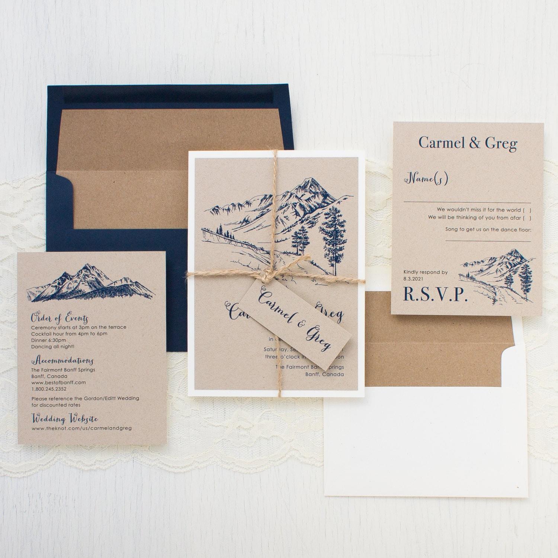 Mountain Wedding Invitations Kraft Envelope Liner Navy