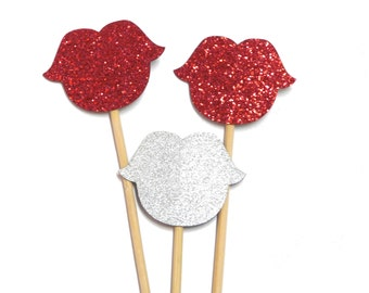 Photo Booth Props -  3PC Glitter Lips Photo Booth Props