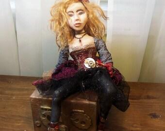 Steampunk Art doll - Burlesque Art Doll Doll -  Polymer Clay Doll - Victorian Art Doll - Handmade Doll
