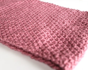 Cowl Scarf - Pink Cowl Neck Scarf - Mauve Neck Warmer - Knit Cowl Scarf - Knit Neck Warmer - Knitted Cowl - Infinity Scarf Single Loop Cowl