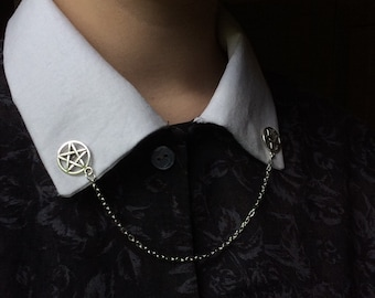 collar clips pentagram/pentacle with chain