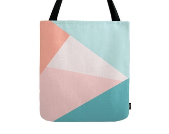 Geometric tote bag geometric bag teal tote bag geometric canvas tote teal and pink bag summer canvas bag tote bag summer tote bag summer bag