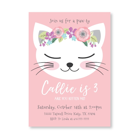 Cat birthday party invitation kitten cat birthday girl cat birthday party invitation kitten cat birthday girl printable invitation are you kitten me girl 3rd birthday kitty party filmwisefo Image collections