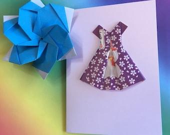 Origami greeting card - Hello Kitty paper dress (purple)