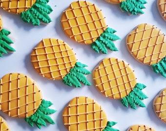 Pineapple Decorated Cookies - One Dozen