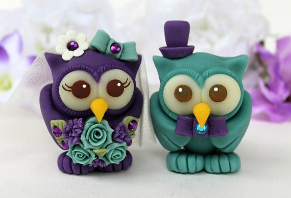 teal wedding cake toppers owl wedding cake topper teal purple birds custom 20789