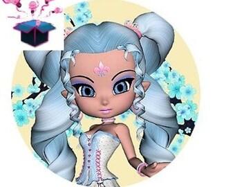 1 cabochon clear 20mm blue hair girl theme