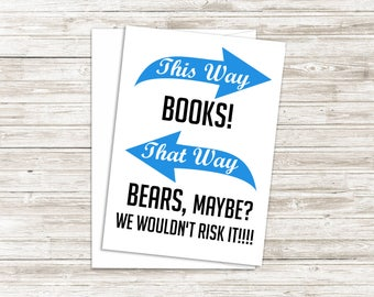 Funny Book Lover Card - Card for Book Lover - Book Worm Card - Reading Card - Funny Book Card - Card for Librarian - Fiction Lover Card