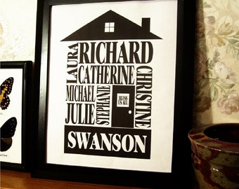 Personalized Family Name Print - 8x10 Black House - FREE SHIPPING (WORLDWIDE)