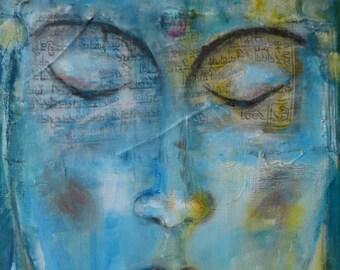 "Buddha Print on Canvas ""Buddhas Prayer"" 12 x 16 "" Buddha Spiritual Art Meditation Fine Art Print on canvas Yoga"