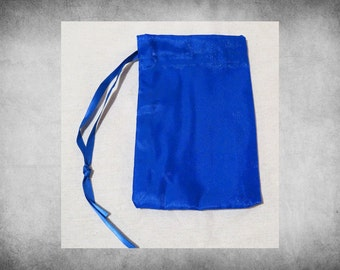 "Crystal Satin - 4x6"" Blue drawstring bag. Great for crafts, storage, and gift wrap! BAG-307"