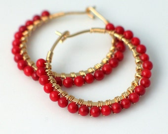 Red Coral Hoops, Handmade Beaded Petite Earrings in Red and Gold, Red Hoop Earrings, Cardinal Red, Gift for Her, Fashion Classic