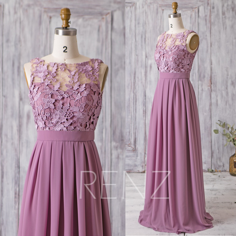 Bridesmaid Dress Mauve Chiffon DressWedding DressLace