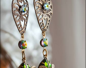 Peacock and Paisley~ Dragonfly Fire Drops~ Long earrings with vibrant green,multi-color vintage Vitrail Swarovski stones, antique filigree