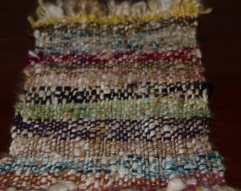 Hand Woven Table Runner - Woven Mat - Trivet - Hand Spun Yarn Measures 14 inches by 9 inches Primative Table Mat / Rustic