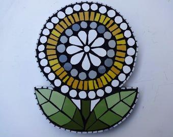 Mosaic Wall Art, Yellow Flower, Mosaic, Mosaic Flower, Mosaic Art