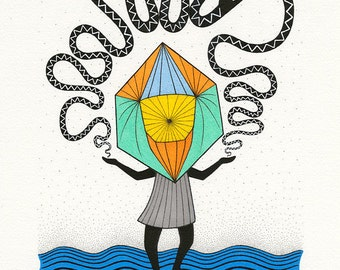 Oroboros Giclee Print  - Spiritual Art Print - Geometric Art Print - Meditation Art Print - Housewarming Gift - Mystic Print