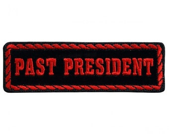 """Red Officer Past President, Iron-on / Saw-on Rayon PATCH - 4"""" X 1"""""""