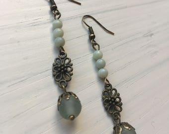 Antique Brass & Pale Blue Green Glass Bead Earrings