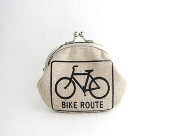 Frame Coin Purse - Bike Route in Beige