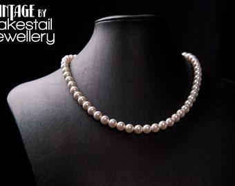 Vintage Inspired Swarovski Pearl Necklace in White