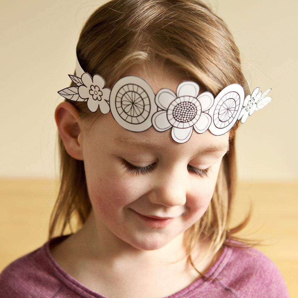 Paper flower crown kids crafts flower headband birthday zoom izmirmasajfo Gallery
