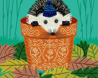 A Hedgehog's Home - children's animal art - wildlife / nature - nursery decor - wall art print