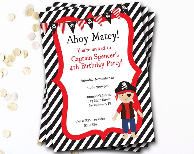 Pirate Birthday Invitation, Pirate Party, Pirate Invitation, Pirate Invite, Ahoy Matey Invitation, Boy Birthday, IY Printable