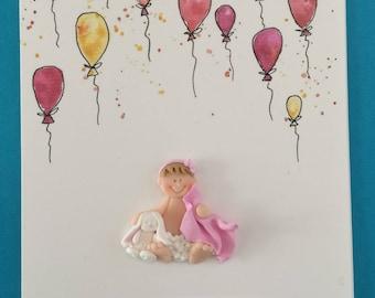 Personalised Baby Girl Card, Custom Made Card