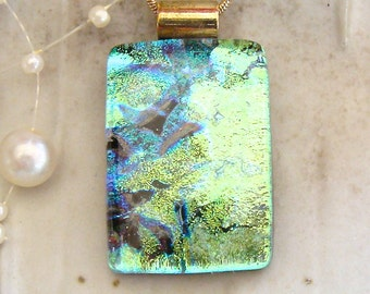 Dichroic Glass Pendant, Necklace,  Glass Jewelry, Green,  Necklace Included