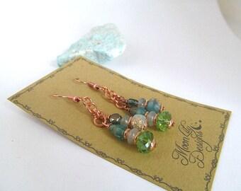 Green Czech Glass Bead Earrings, Emerald Seas, Rosegold Dangle Earrings, Ocean Colors, Bead Dangle Earrings, Aqua Green, Moonlilydesigns