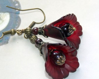 Lucite Flower Earrings, 'Cranberry Sauce', Victorian Earrings, Boho Earrings, Drop Earrings, Handmade Earrings, Red Flower Earrings