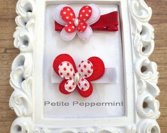 Red and White Baby hair clip,Butterfly baby hair clip,Toddler hair clip,girl hair bow,baby barette, girl hair clip set, baby hair bow set