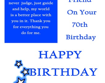 Friend 70 Birthday Card male with removable laminate
