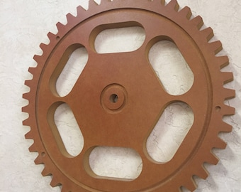 Medium Yellow/Tan/Mustard Color Style 2  Wood Gear Steampunk Sprocket Mechanical Decor Wall hanging Vintage Rustic Wheel Panel Factory Molds