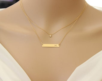 Set of two necklaces, diamond Bar necklace, initial necklace, gold bar necklace, silver necklace, layered necklace, personalized necklace