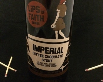 Custom Soy Upcycled Beer Bottle Container Candle-NEW BELGIUM BREWING Lips of Faith Imperial Coffee Chocolate Stout