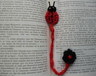1 Ladybug bookmark crochet with little flower Handmade wool crocheted bookmark Ladybird Ladybug
