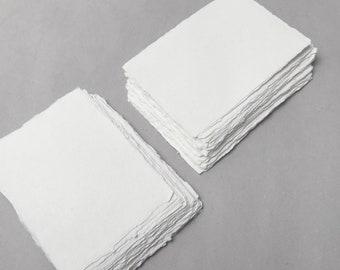 "4.1"" x 5.8"" (A6) Ivory, 150gsm Handmade Deckle Edge Cotton Rag Paper // Deckle Edge Paper, Cotton Paper, Invitation Paper, Fine Art Wedding"