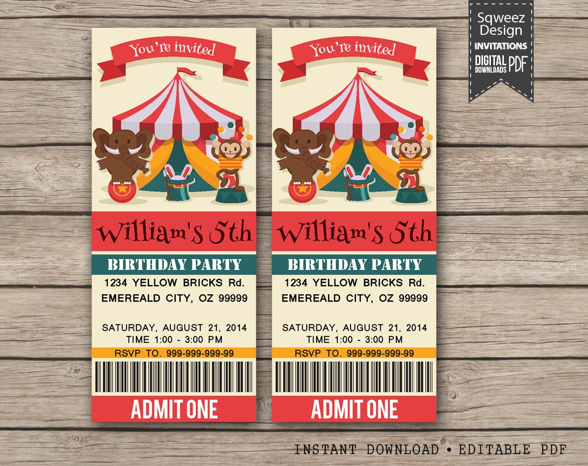 Carnival Invitations Carnival Ticket Invitation Birthday Baby