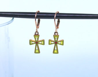 Petite Vintage Copper Enamel Cross Pendant Lime Green and Yellow