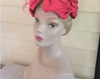 50s 60s Vintage Red Bow Hat with Veil