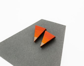 Wooden triangle stud earrings - ombre orange and yellow - minimalist, modern, hand painted eco friendly jewelry