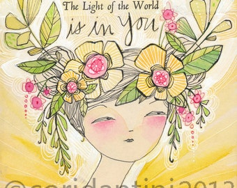 watercolor of a woman in floral crown - 8 x 8 inch archival print - the light of the world is in you, by cori dantini