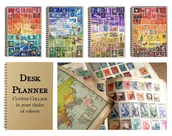 Upcycled Monthly Planner | Postage Stamp Desk Diary, Undated Bullet Journal Notebook, Dot Grid | Recycled Stamp Art Collage, Custom Colours