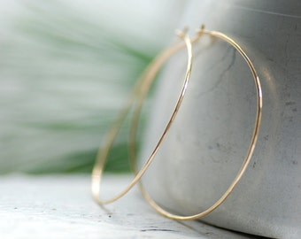 Thin Gold Hoop Earrings, Hammered Gold Earrings, Lightweight Hoops, Everyday Jewelry, 14k Gold Filled, Minimalist Jewelry, Delicate Hoops